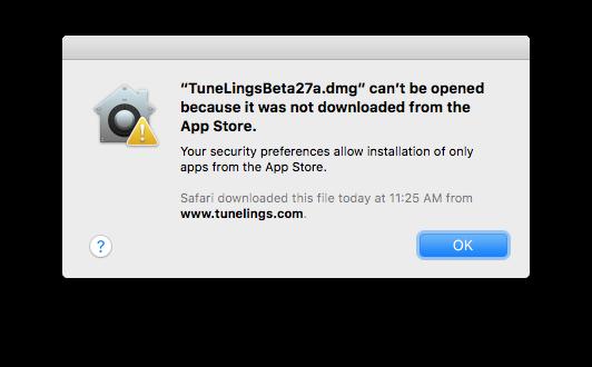 App warning message